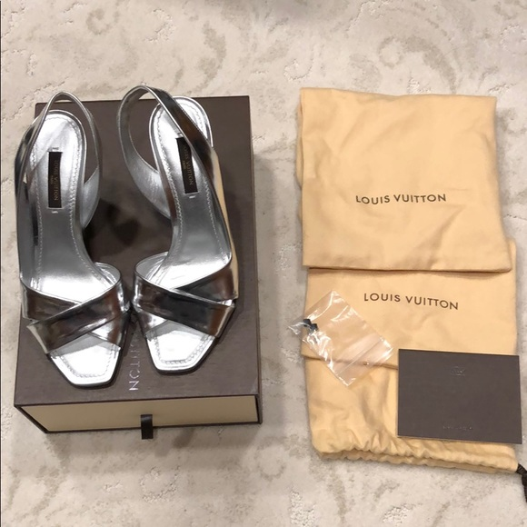 Louis Vuitton Silver Heels Wore Once